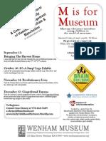m is for Museum Flyer Sept Dec 2014