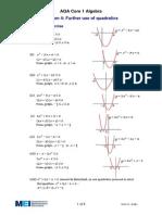 Further Use of Quadratics - Solutions