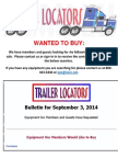 Wanted to Buy Bulletin - September 3, 2014