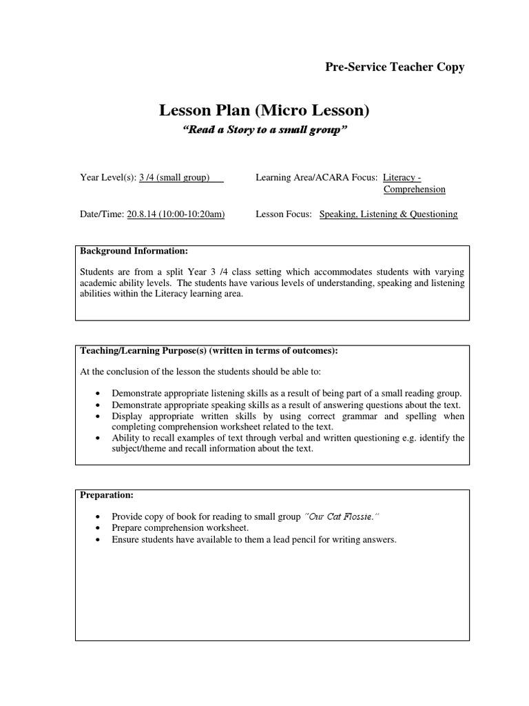primary - lesson plan - micro lesson   Reading Comprehension