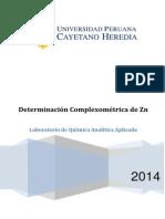 Informe Química Analítica - Determinación de Zinc