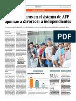 Nuevas Mejoras en El Sistema de AFP Favorecerían a Independientes_El Comercio 4-09-2014