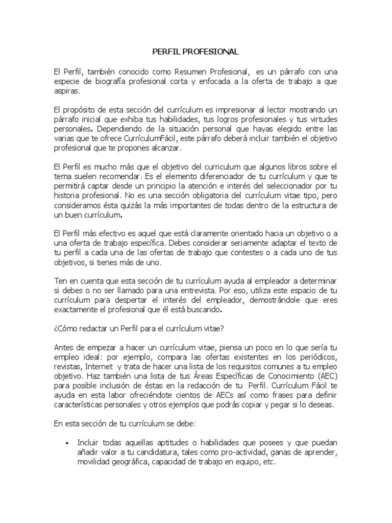 Awesome Curriculum Resumen Profesional Photos - Example Resume and ...