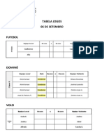 Tabela Jogos 06 Setembro
