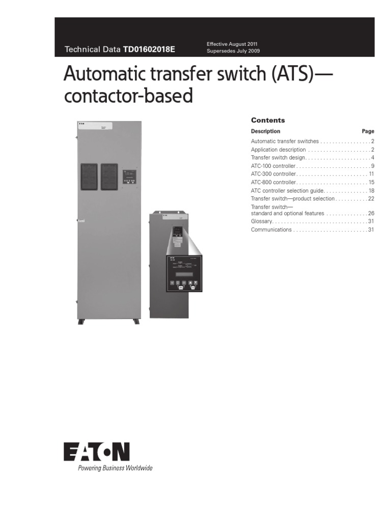 Contactor-based Automatic Transfer Switch (ATS) Technical Data | Switch |  Transformer