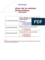 Calendrier de La Rentree Universitaire 2014 2015