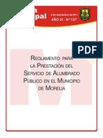 Reglamento Para La Prestacion Del Servicio de Alumbrado Publico en El Municipio de Morelia