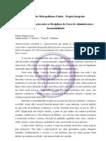 Análise da Integração entre as Disciplinas do Curso de Administração e Sustentabilidade