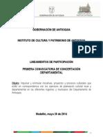 Convocatoria Concertacion Departamental 2014 Lineamientos Participacion