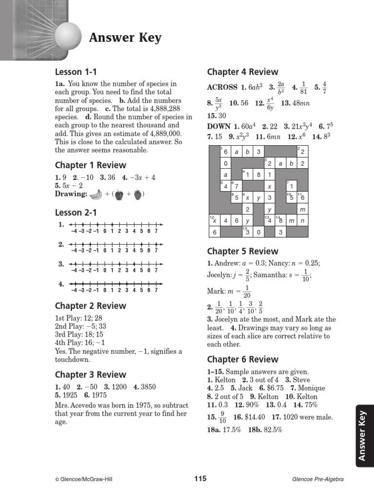 Workbooks pre algebra worksheets answers : Glencoe Pre Algebra Study Guide Answer Key | Mathematical Concepts ...