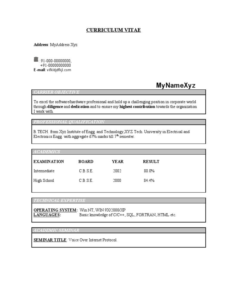 resume Resume Ece fresher ece resume model 213