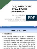 Hospitals Patient Care Units and Ward Management
