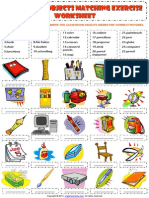 Classroom Objects Supplies Vocabulary Matching Exercise Worksheet