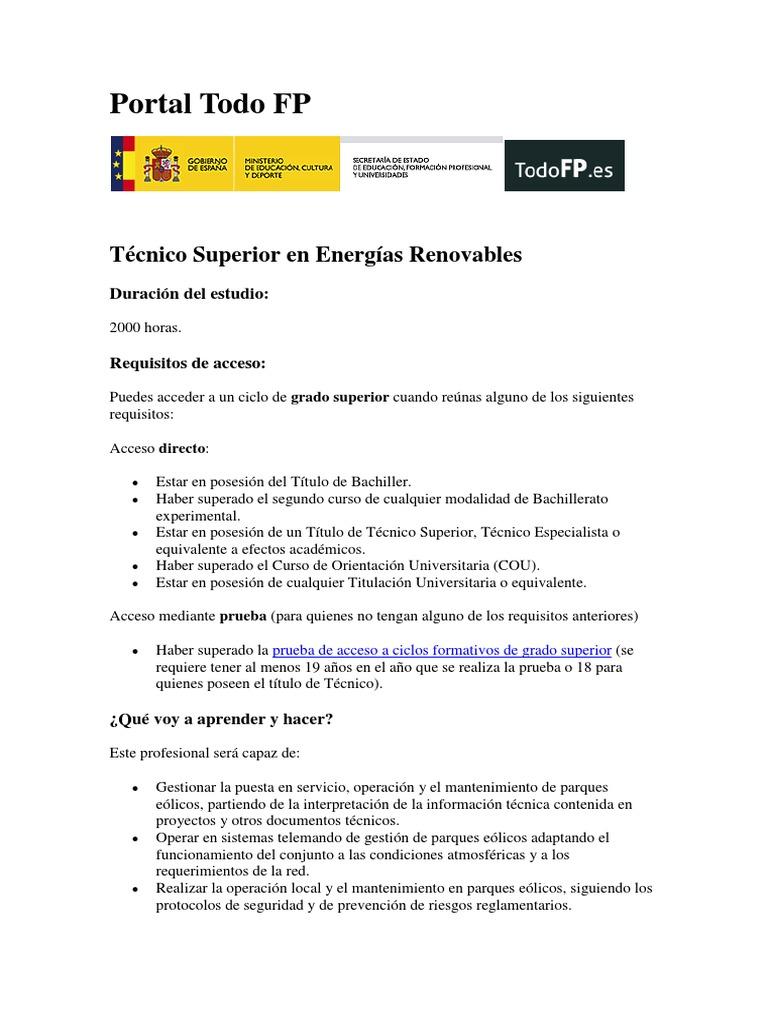 Doc 1 Tecnico Superior De Energias Renovables Energía