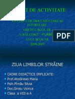 """RAPORT DE ACTIVITATE CENTRUL DE DOCUMENTARE ŞI INFORMARE ,,N.BĂLCESCU""""-FLĂMÎNZI"""
