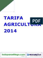 Tarifa agricultura 2014 todoparaelriego