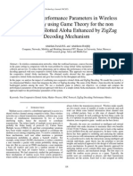 Analysis of Performance Parameters in Wireless Networks by using Game Theory for   the non Cooperative Slotted Aloha Enhanced by ZigZag Decoding Mechanism