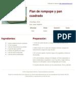 Sabores en Linea - Flan de Rompope y Pan Cuadrado - 2014-05-13