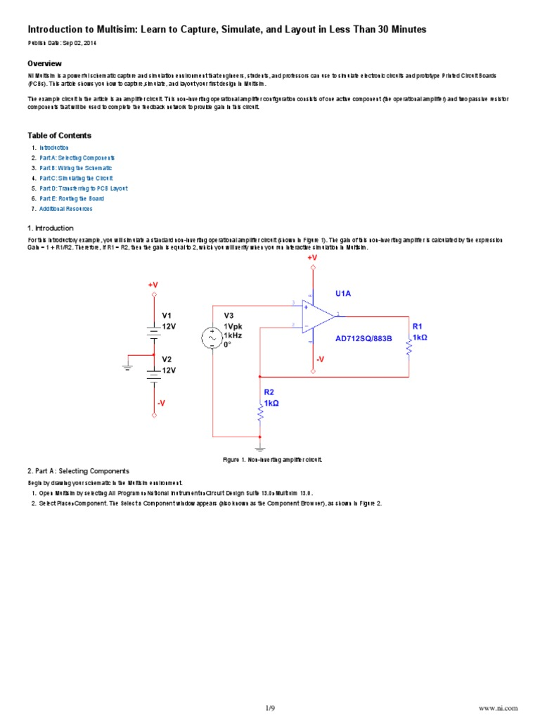 Ni Tutorial 10710 En Electronic Circuits Operational Amplifier The Board Design Is Shown In Figure 6 And Layout