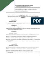 Practica 10 El Amplificador Operacional Aplicaciones Lineales Básicas