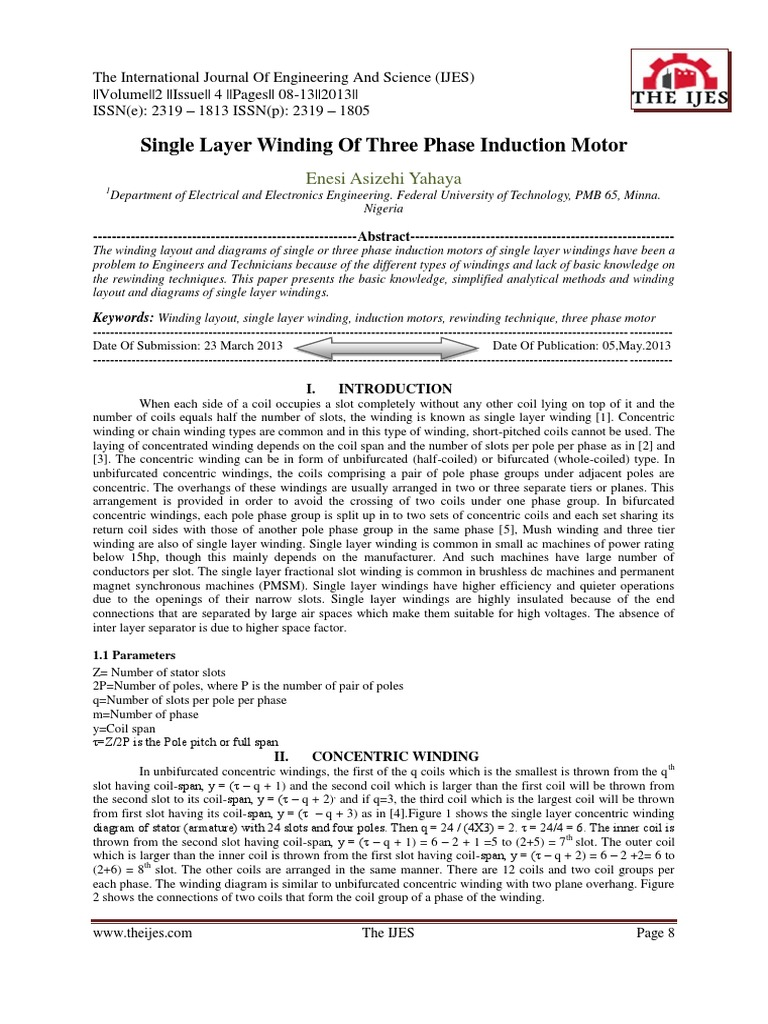 Single Layer Winding Design Of Induction Motors Inductor Fig 1813 Threephase Inductionmotor Equivalent Circuit Electrical Equipment