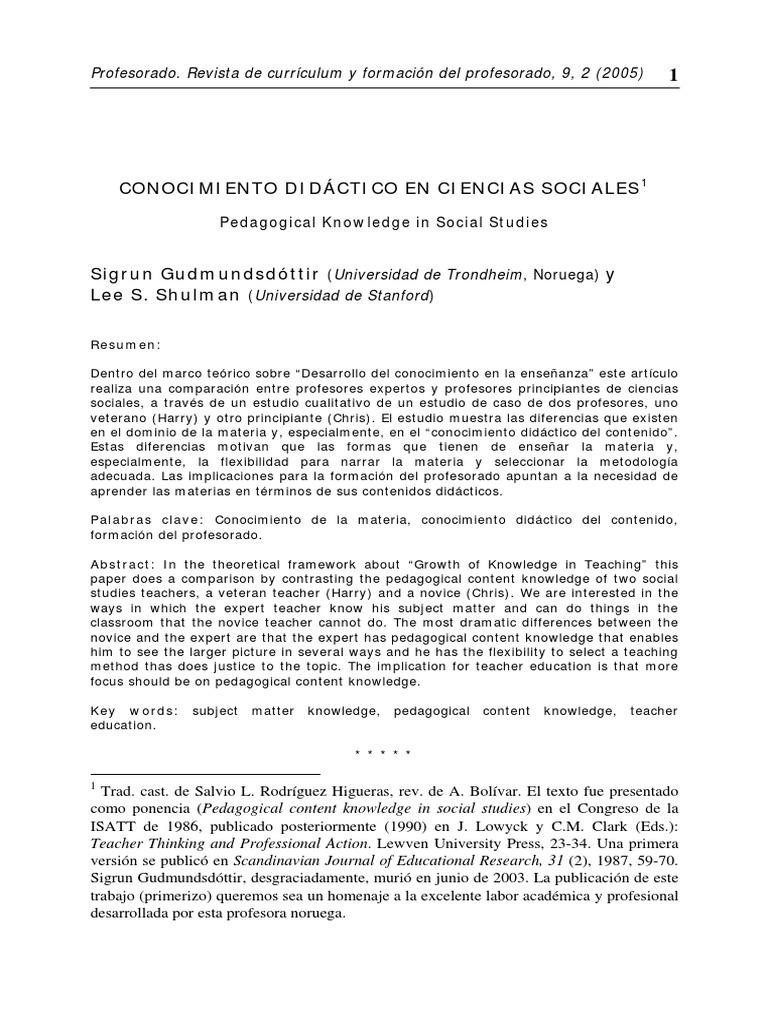 Sigrum+Gudmundsdóttir+y+Lee+S.+Shulman.+Conocimiento+didáctico+en+ ...