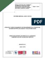 Informe General Entidades del D.C. SDQS - Junio 2014