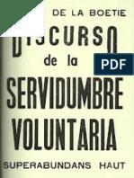 Boetie Esteban de La - Discurso Sobre La Servidumbre Voluntaria