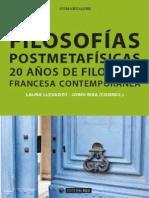 Filosofías Postmetafísicas. 20 Años de Filosofía Francesa Contemporánea - Laura Llevadot y Jordi Riba (Coords.)