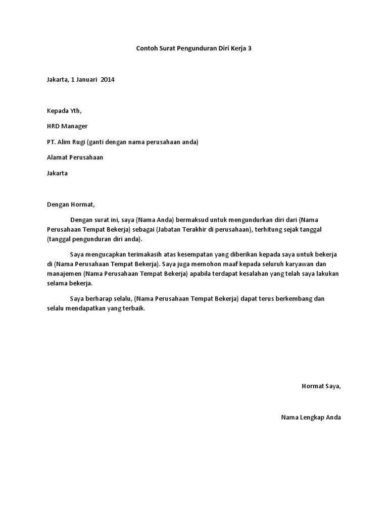 Kumpulan Contoh Surat Pengunduran Diri Kerja Yang Baik Dan Benar