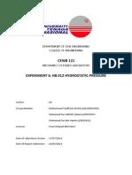 Fluid Exp. 6 Hydrostatic Pressure