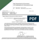 Certificado de Existencia y Reclamaciones de Departamento de Comercio de Utah Despierta Now.inc