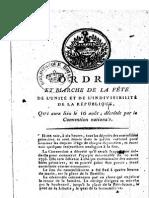 1793 Fête de l'Unité Et de l'Indivisibilité de La République