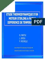 Etude thermodynamique d´un moteur stirling a faible difference de temperature