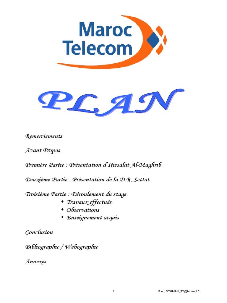 Rapport De Stage Maroc Telecom Comptabilité Sodles