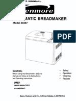 Kenmore Automatic Breadmaker Manual