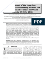 Assessment of the Long-Run Equilibrium Relationship between Tax Revenue and Economic Growth in Nigeria