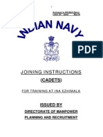 Joining Instructions for Officers(Sub Lt) Appointed for Training at Indian Naval Academy - Ezhimala