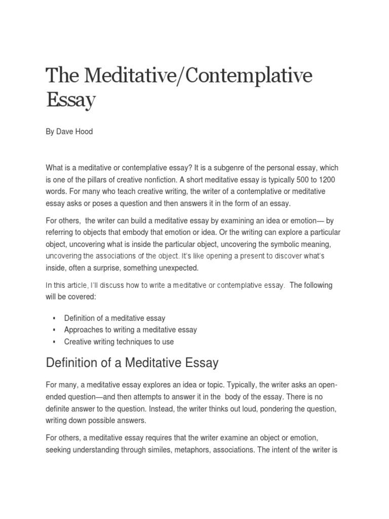 meditative essay