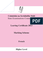 French Marking Scheme 2013