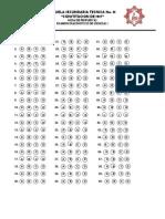 Hoja de Respuestas Examen Diagnostico Ciencias i 2014