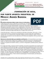 Despojo y Contaminación de Agua, Por Fuerte Apuesta Industrial de México