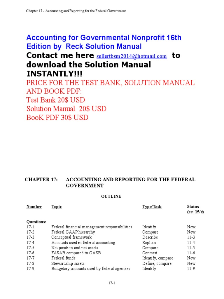 Accounting for Governmental & Nonprofit 16e Solution Manual Chapter 17 |  Audit | Financial Statement