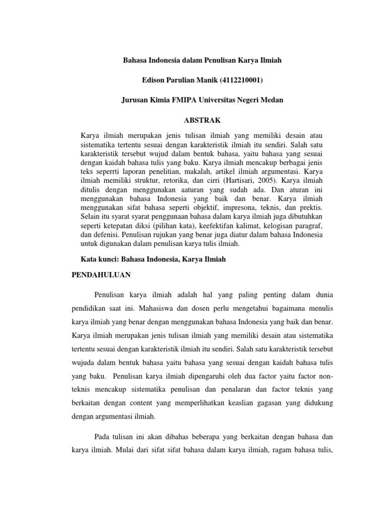 Bahasa Indonesia Dalam Penulisan Karya Ilmiah
