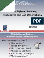 Affiliate Bylaws, Policies, Job Descriptions & Procedures