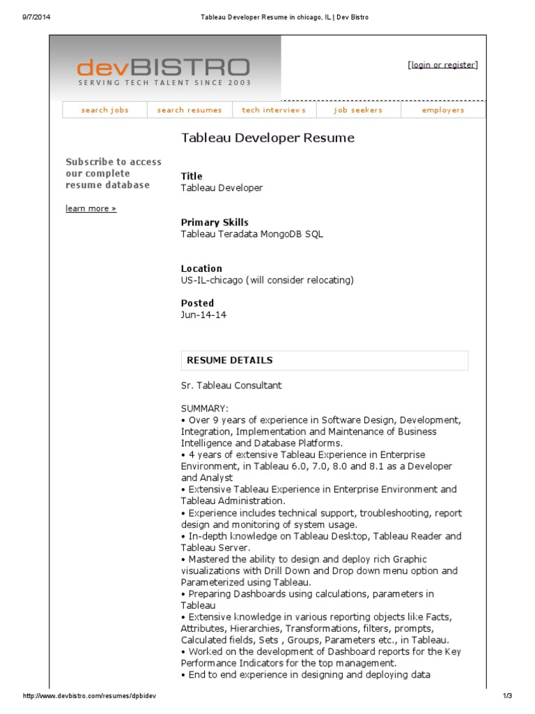 tableau developer resume oracle database databases