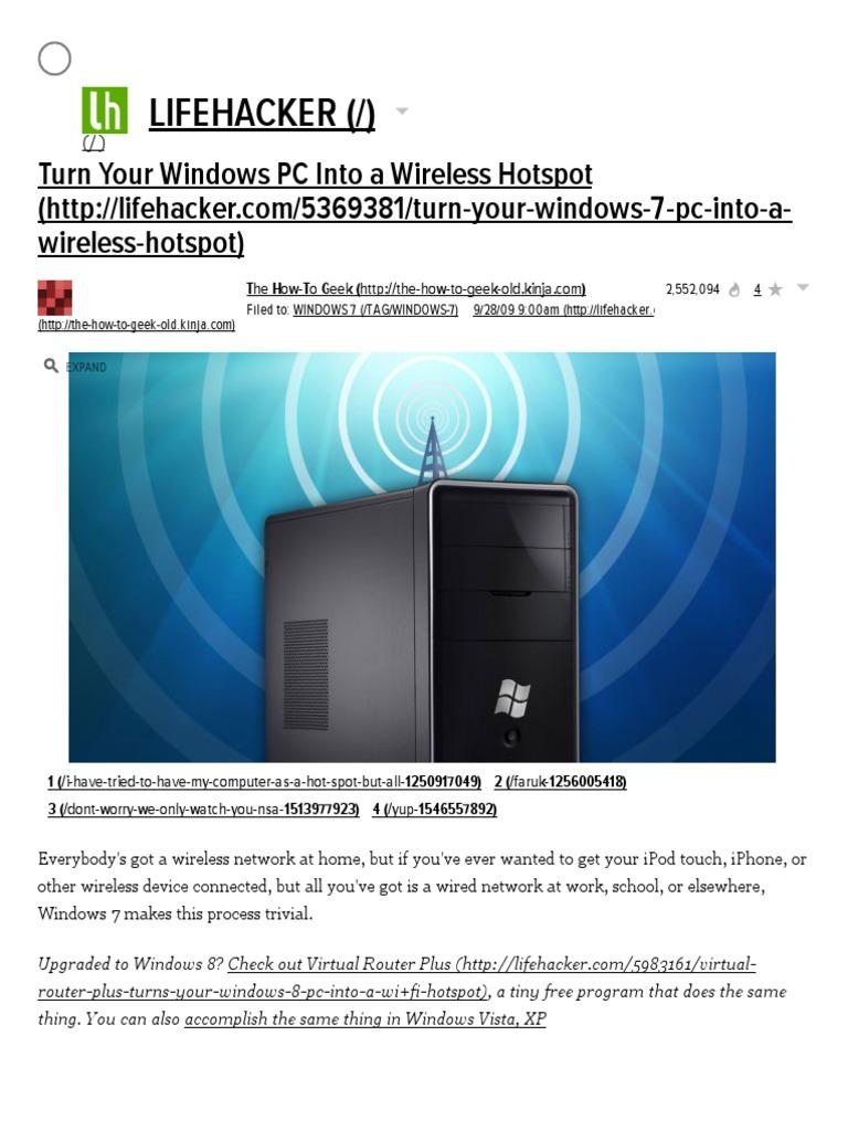 Turn Your Windows PC Into a Wireless Hotspot | Wi Fi