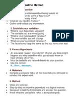 scientific method print - student