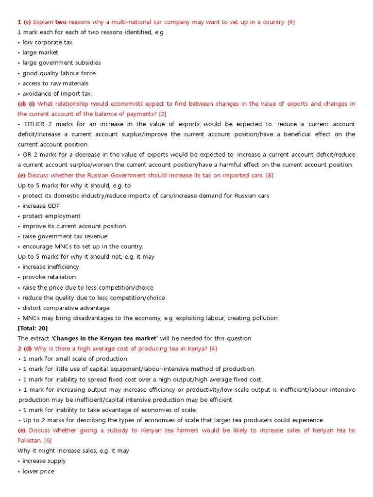 Economics Igcse Past Papers 2014