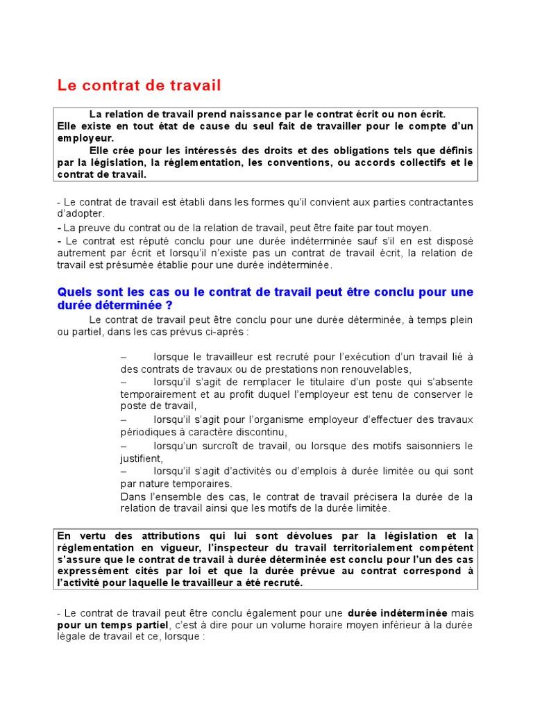 2 Contrat De Travail Algerie